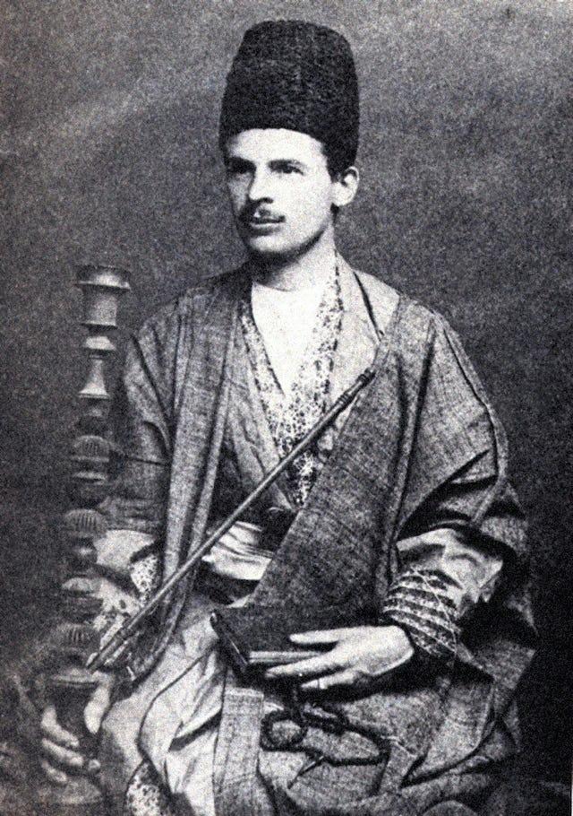 Professor Edward Granville Browne in oriental attire.