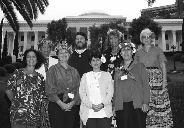 Members of the National Spiritual Assembly of the Baha'is of the Cook Islands at the International Convention in Haifa, 1998.