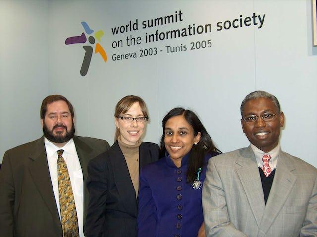 The Baha'i delegation (left to right): Michael Quinn (United States), Bahiyyih Chaffers (Canada), Laina Raveendran Greene (Singapore), Karanja Gakio (Botswana).