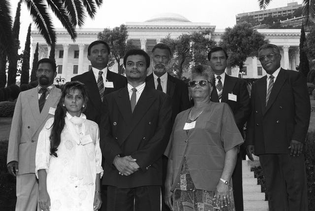 The National Spiritual Assembly of the Baha'is of Seychelles at the International Convention in Haifa, 1998.