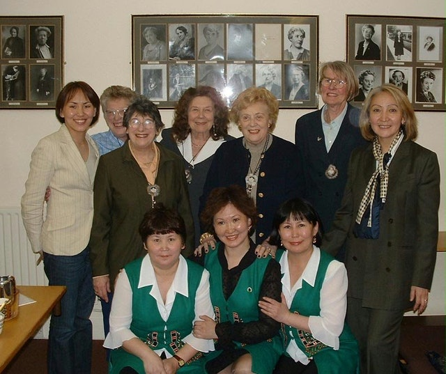 Mrs. Hainsworth (back row, fourth from left) with Siberian women and members of the National Council of Women of Great Britain.