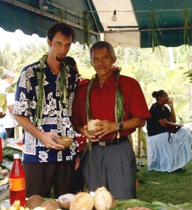 Daniel Pierce of Tahiti (left) and Ato Tuhei, a pastor from the Keretitiano church.