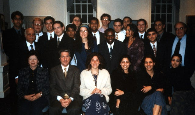 Amine Gemayel, former president of Lebanon (second left, front row), was a guest speaker in May 2001 at a class of Prof. Bushrui (left, second row), at the University of Maryland.