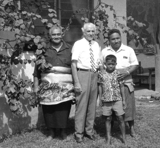 Visit of Hand of the Cause of God John Robarts to Tonga, April 1972. (From left to right) Vilatu Tu'akihekolo, Mr. Robarts, 'Asita Fielea, Andrew Fielea.