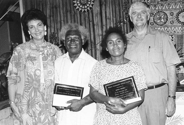 Keithie Saunders (left) and Bruce Saunders (right) with recipients of the Blum's Community Service Award, 1993: (second from left) Abraham Bainasia, representing the Solomon Islands Development Trust, and (second from right) Onyx Oifuru.