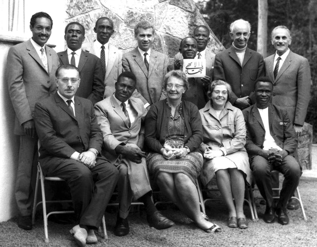 Mr. Yazdi (back row, second right) with members of the Continental Board of Counsellors and Auxiliary Board members of Central and East Africa, Kenya, 1969.