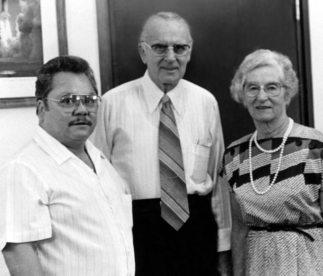 Collis Featherstone (center) and Mrs. Featherstone with the Governor of the the Commonwealth of the Northern Mariana Islands, Pedro Tenorio, 1985.