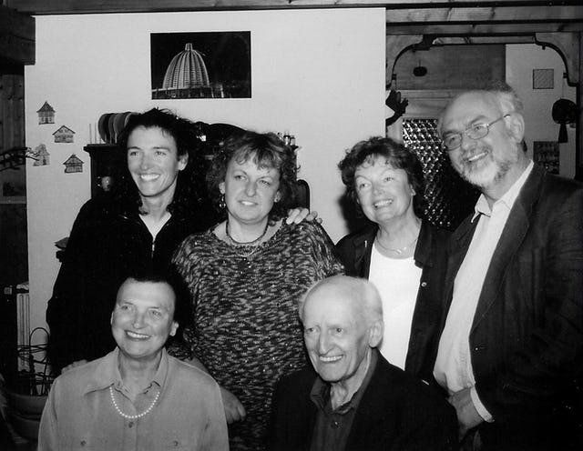 Family portrait. (Front right to left) Erik Blumenthal, Marianne Blumenthal. (Back right to left) son, Stefan Blumenthal; daughters, Dorothee Nicke, Fidelis Karina Brinz, and Roja Pelzer, 2002.