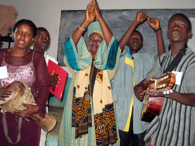 Some of the musicians at the national Baha'i youth conference in Guinea. (Photo by Mandy Morgan)