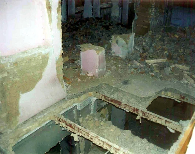 Destruction of a Baha'i holy place...inside the House of Mirza Abbas Nuri (Mirza Buzurg), Tehran, June 2004.