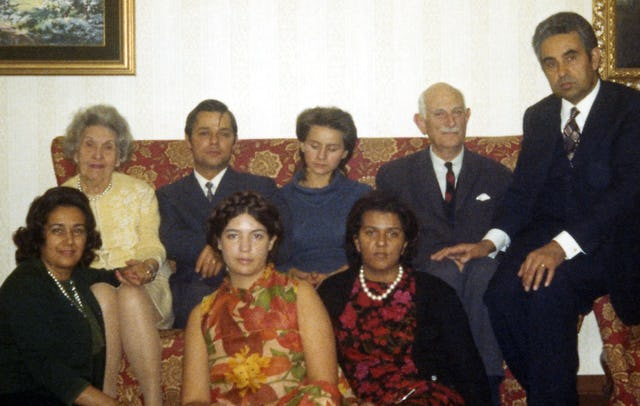 Some Baha'is of San Marino with Hand of the Cause Ugo Giachery (second from right) and Mrs. Giachery (at left, seated), 1971. At far right is Sohrab Payman, and at far left, Tabandeh Payman.
