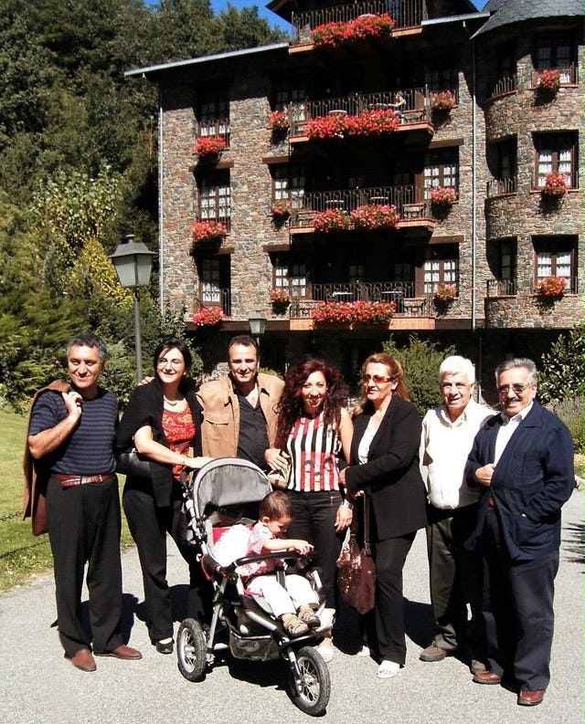 Some participants in the jubilee enjoying the beautiful setting of the anniversary festivities in Andorra.