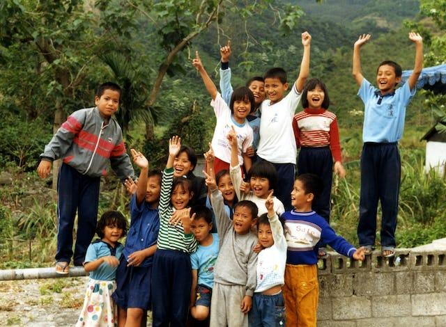 Participants in a Baha'i children's class, Taiwan, 1988.
