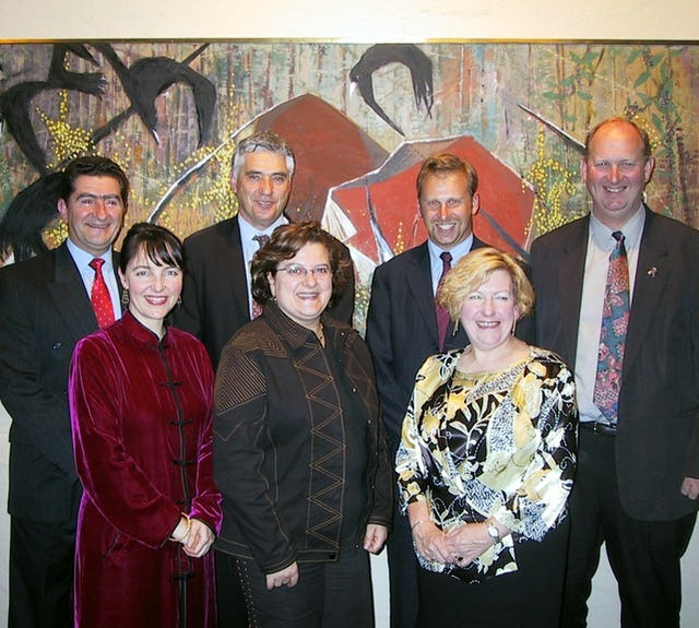 Australian national Baha'i education officer Kath Podger (front left), Victorian state parliamentary secretary for education Liz Beattie (front right), with participants at the appreciation event in Manningham.