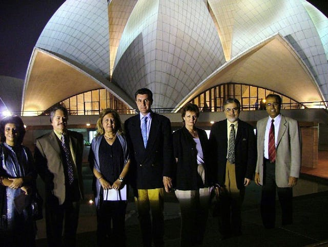 The official party during a visit to the Baha'i Temple in India in November 2004.(From left to right): The secretary of the National Spiritual Assembly of the Baha'is of India, Farida Vahedi, the ambassador of Romania to India, Vasile Sofineti, Mrs. Sofineti, Prince Radu von Hohenzollern-Veringen, Crown Princess Margareta of Romania, Temple architect Fariborz Sahba, Temple public relations general manager Shatrughun Jiwnani.