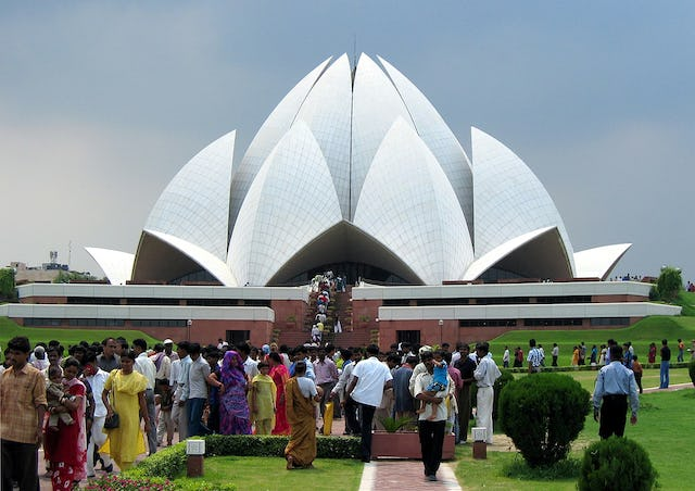 More than 3.5 million people a year visit the Baha'i House of Worship in India, making it one of the most visited buildings in the world. Photo by Nikolai Werner.