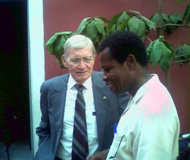 Howard Menking (left) with a member of the Continental Board of Counsellors in Africa, Kobina Fynn, at the jubilee celebrations of the Cape Verde Baha'i community.