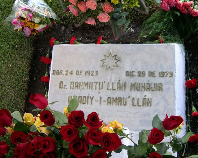 The headstone of the grave of Hand of the Cause of God Dr. Rahmatu'llah Muhajir, Quito, Ecuador.