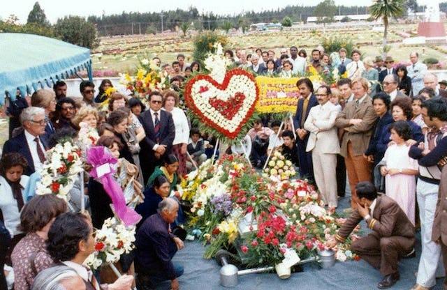 The 1979 graveside ceremony for Hand of the Cause of God Dr. Rahmatu'llah Muhajir, Quito, Ecuador.