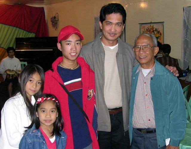 Members of different generations at the Baha'i National Arts Festival in the Philippines: (left to right) Stephanie, Camilla, Paul, and Dennis Pangilinan with Vicente Samaniego.