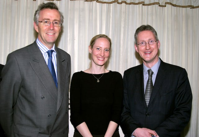 At the Naw-Ruz reception at the British Paliament: (left to right) Tim Morris of the British Foreign Office, Mieko Bond, director of the Baha'i Office for the Advancement of Women in the United Kingdom, and Lembit Opik MP, chair of the All Party Parliamentary Friends of the Baha'i Faith.