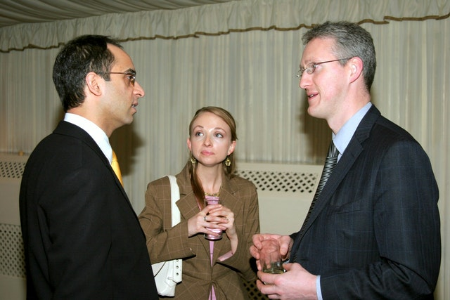 At the Naw-Ruz reception at the British Paliament: (left to right): Inder Manocha, master of ceremonies, Meghan Morris, a Baha'i representative, and Lembit Opik MP, chair of the All Party Parliamentary Friends of the Baha'i Faith.