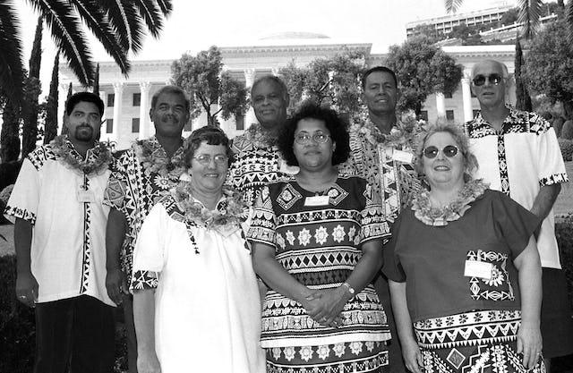 Seven members of the National Spiritual Assembly of the Baha'is of Fiji at the International Baha'i Convention, Baha'i World Centre, Haifa, Israel, 1998.