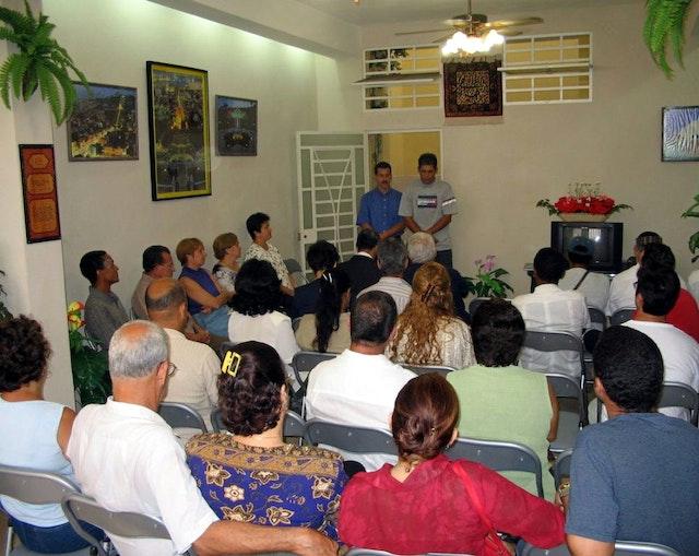 The interreligious gathering at the national Baha'i center in Havana, Cuba, 23 May 2005.