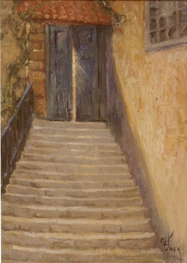 Light shines through the door leading to the living quarters of 'Abdu'l-Baha in Marion Jack's 1908 painting of a scene at the House of 'Abdu'llah Pasha, Acre.