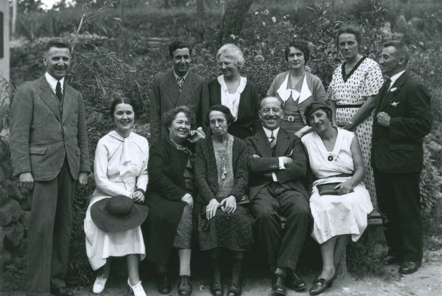 Amelia Collins, later named a Hand of the Cause of God (standing third from left), is pictured in Esslingen, Germany, 1933 with a Baha'i group that includes two pioneers to Bulgaria: Marion Jack (seated second from left) and Louisa Mathew Gregory (seated third from left).