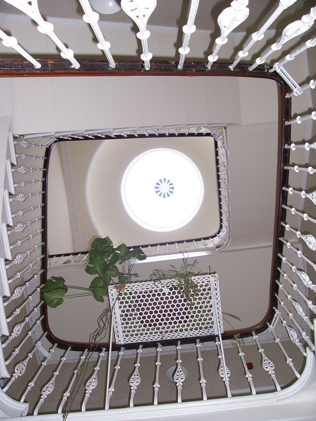 View from below of the staircase and cupola in the new Baha'i center in Edinburgh.