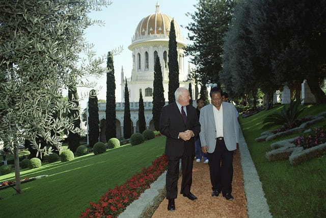 President Kessai Note of the Marshall Islands, right, and the deputy secretary-general of the Baha'i International Community, Murray Smith, near the Shrine of the Bab.