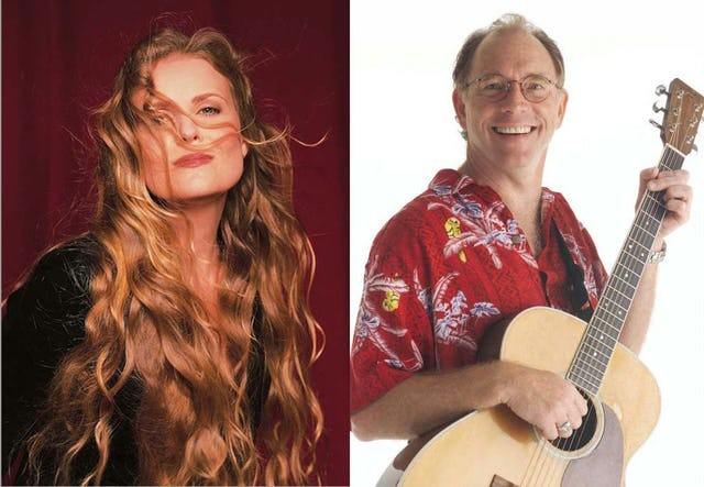 Composite image of Tierney Sutton and Red Grammer, two Baha'i musicians who are up for 2006 Grammy Awards.