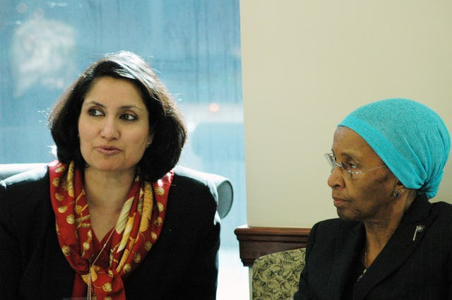 Bani Dugal, principal representative of the Baha'i International Community to the United Nations, left, with South African First Lady Zanele Mbeki during a luncheon on 28 February 2006 at the Baha'i International Community offices in New York. More than 25 people attended, including representatives of the Mission of South Africa to the United Nations, the Mission of India to the United Nations, and various NGOs. Mrs. Mbeki spoke about a new program she has founded, South African Women in Dialogue (SAWID).