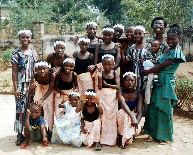 During the year 2004-2005, a number of Baha'i communities celebrated their 50th year in existence. A full report in the latest volume of The Baha'i World  includes this photograph of a dance troupe that performed at the jubilee celebrations in Burundi in August 2004.