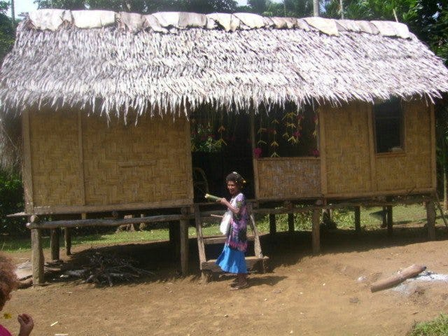 A typical home in Mom village on Karkar Island, Papua New Guinea.