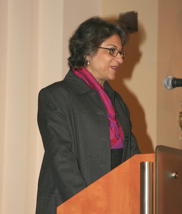 Asma Jahangir, the UN Special Rapporteur on freedom of religion or belief, speaking at the evening plenary on 25 November 2006. Photograph by Hamid Jahanpour