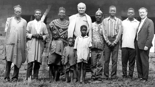 Dr. Varqa is shown with friends in Nkwen, Cameroon, in 1972.