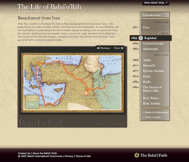 Pages that introduce the various sections of the Web site include maps to orient the reader.