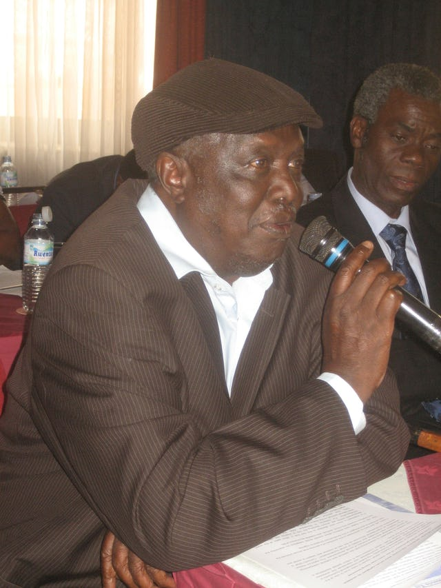 Former Ugandan Prime Minister Kinto Musoke participates in the discussion at the premiere of the new film.