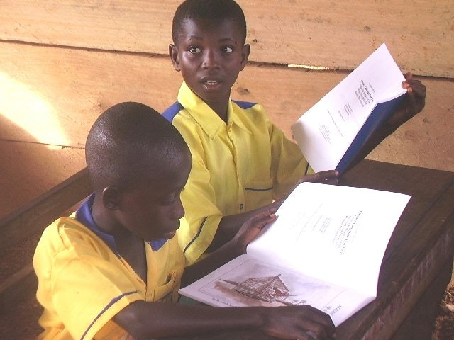 """Students from the Anyinabrim Methodist Primary School are among the thousands who use the """"Enlightening the Hearts"""" literacy program in Ghana."""