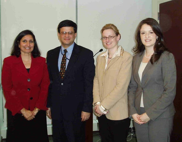 """Among those present at the 14 February 2008 presentation of the statement """"Eradicating Poverty: Moving Forward as One"""" were, from left, Bani Dugal, principal representative of the Baha'i International Community to the United Nations; Nikhil Seth, director of the Office for ECOSOC Support and Coordination and special assistant and chief of office to the undersecretary in the U.N. Department of Economic and Social Affairs; Julia Berger, senior researcher and writer at the BIC; and Tahirih Naylor, a BIC representative to the U.N."""