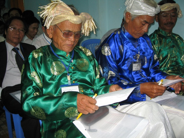 Delegates from the Cham minority communities prepare for balloting at the first Baha'i National Convention in Vietnam in 33 years.