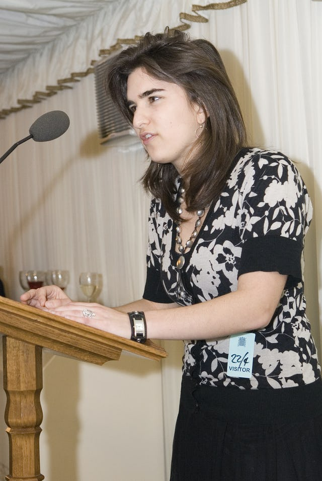Jenna Nicholas, 18, addresses the reception in the UK Parliament. Photograph: Andisheh Eslamboli.