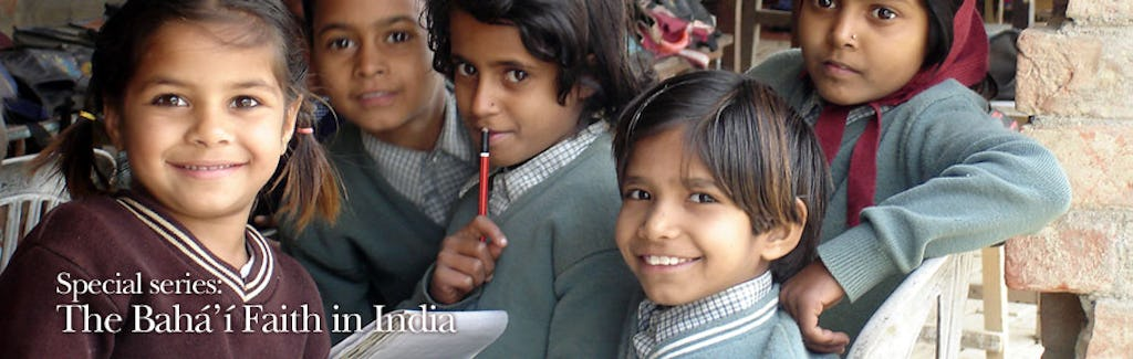 Children at one of the community schools in Uttar Pradesh smile for a visitor. The Foundation for the Advancement of Science in Lucknow offers know-how to help teachers and administrators with curriculum and planning.
