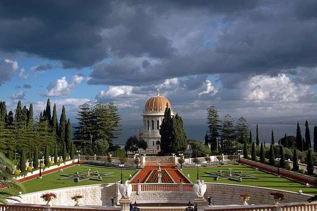 The Shrine of the Bab on Mount Carmel in Haifa, Israel, framed by formal gardens and terraces, is one of two major Baha'i properties named as a World Heritage site.