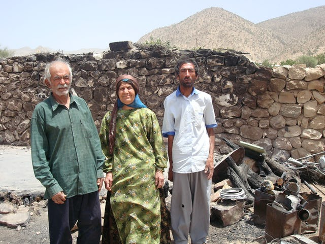 The Mousavi family of Fars province narrowly escaped injury when an arsonist poured gasoline and caused an explosion and fire that destroyed a hut near where the family was sleeping outside their home.