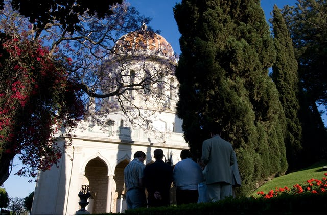 The Shrine of the Bab in Haifa, where His mortal remains are entombed, is surrounded by gardens where people often stop for prayer and meditation.