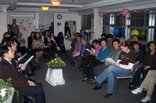 Baha'is and their guests gather in the Baha'i center in Seoul, South Korea, on the evening of 11 November to celebrate the Birth of Baha'u'llah.