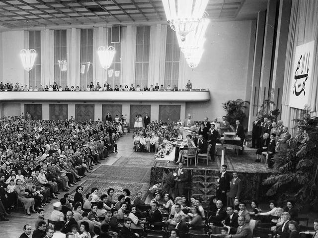 With 2,300 people in attendance, the Frankfurt gathering of 1958 was the largest of the five intercontinental conferences that year. (Baha'i World Centre photo)